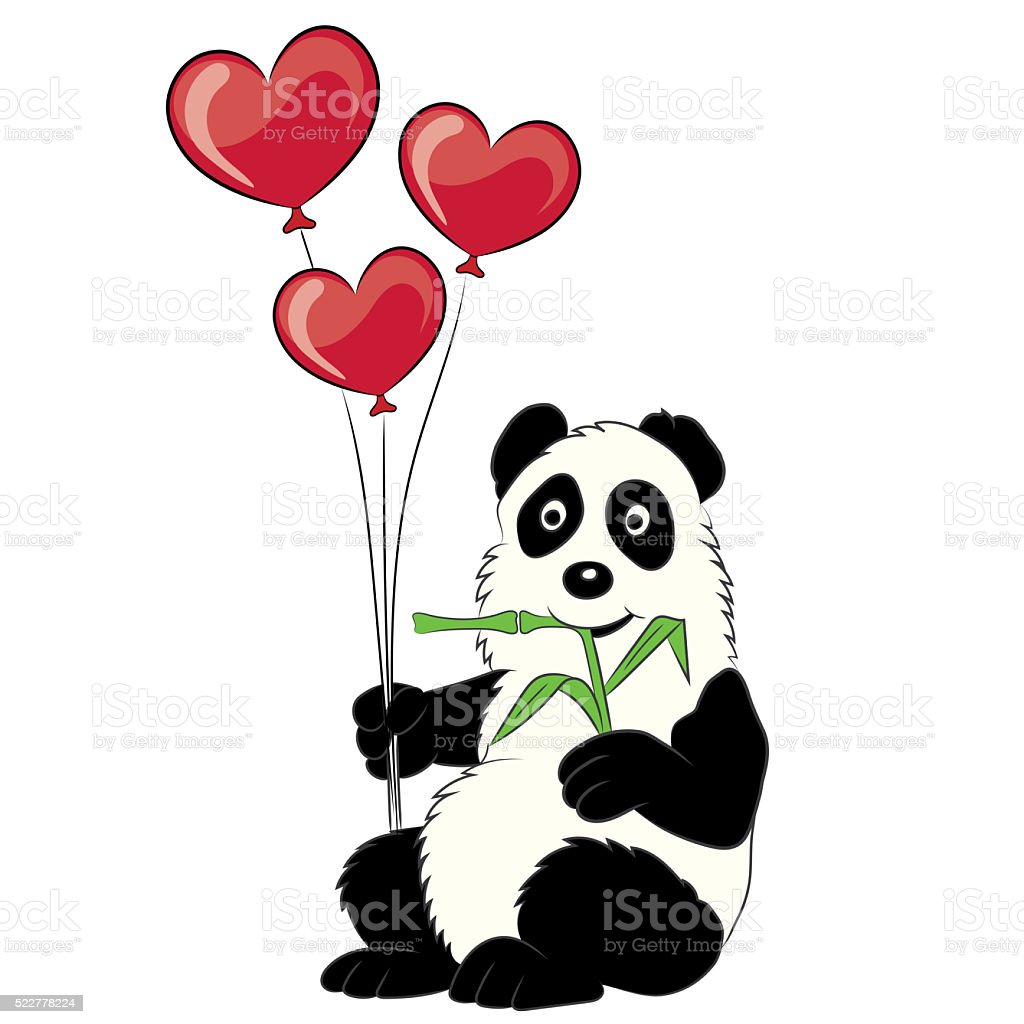 Panda illustration with a branch of a bamboo and balloons. stock photo