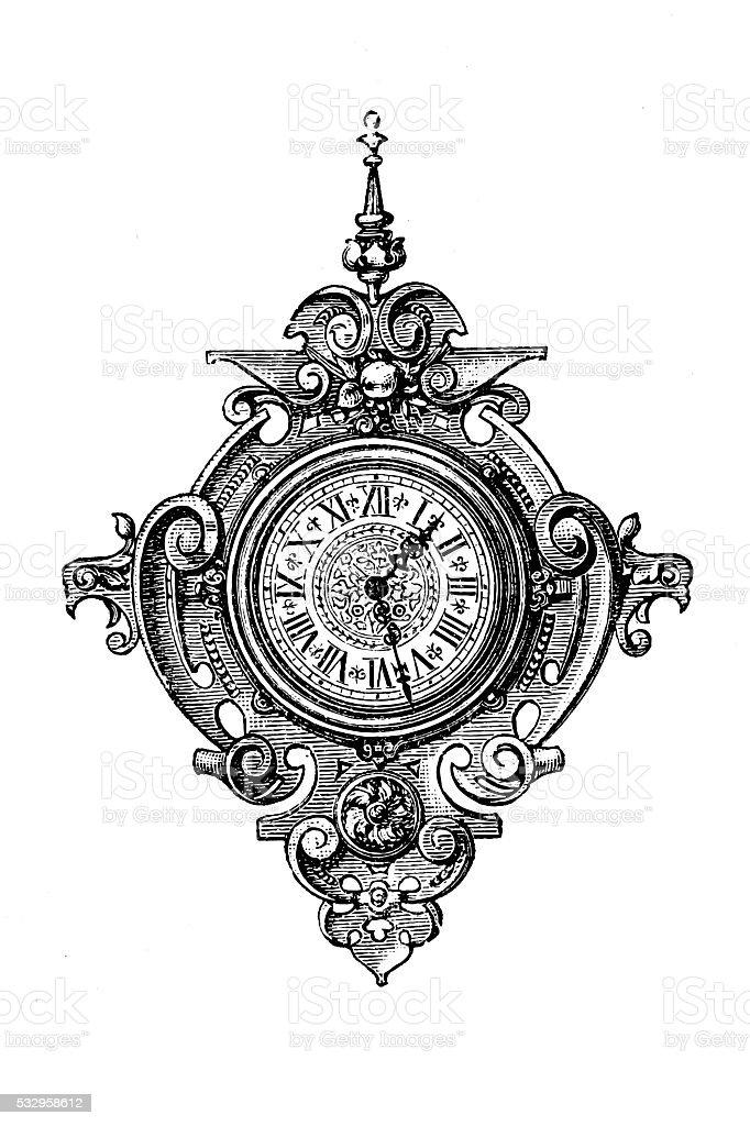 Panel clock vector art illustration