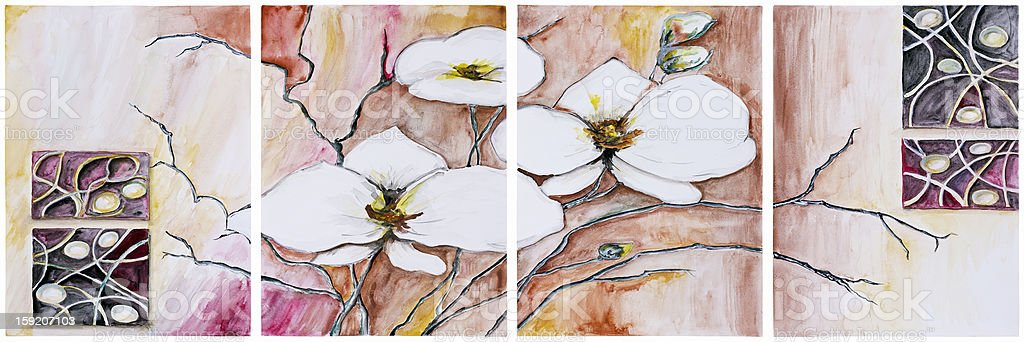 Panel of four paintings - Blooming cherry tree royalty-free stock vector art