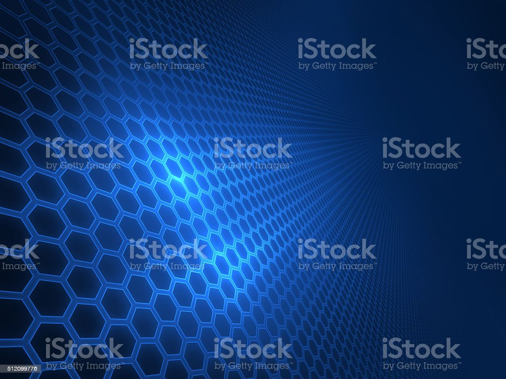 panel of hexagons, techno abstract background stock photo