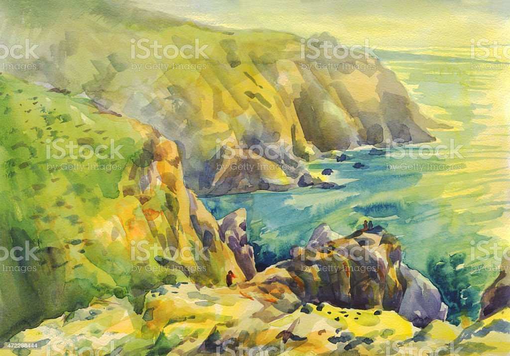Panorama of Cabo da Roca, Portugal, Painting, Watercolor vector art illustration