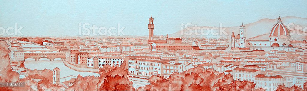 Panorama of Florence vector art illustration