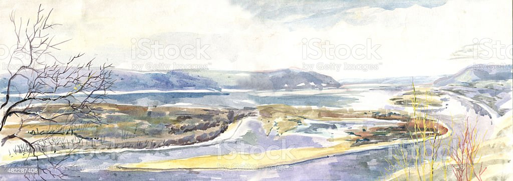 panorama of the river and the island watercolor vector art illustration
