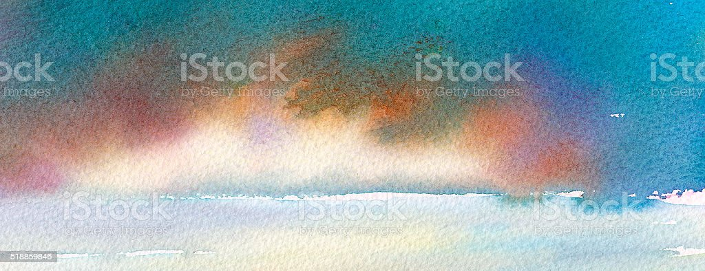 panorama with dramatic clouds over the sea vector art illustration