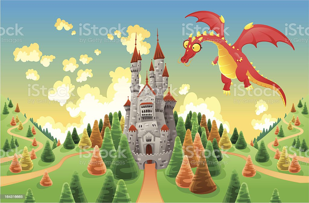 Panorama with medieval castle and dragon. royalty-free stock vector art