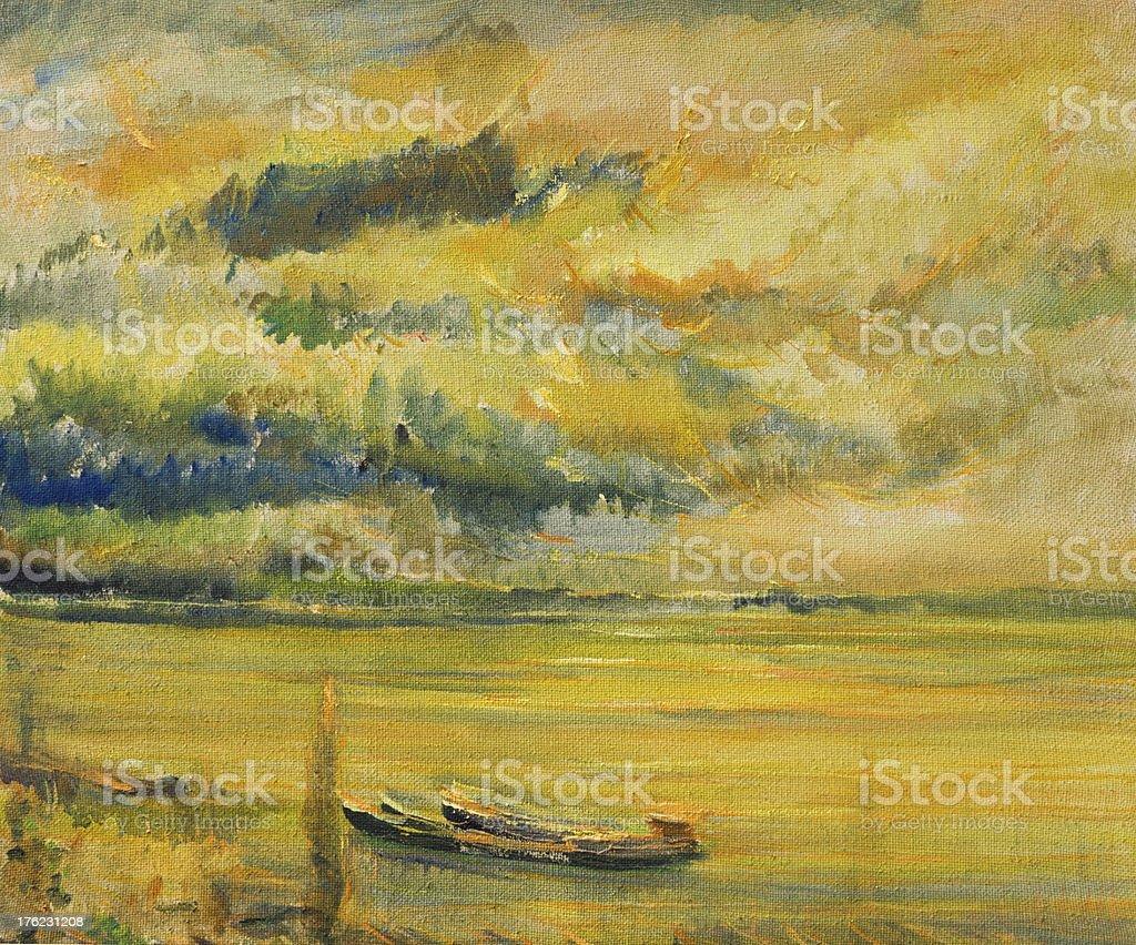 Panoramic Sunset View of Danube River vector art illustration