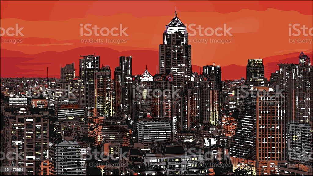 Panoramic view of modern Bangkok royalty-free stock vector art