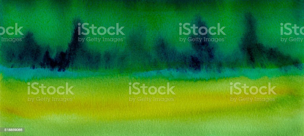 panoramic watercolor green landscape painting vector art illustration