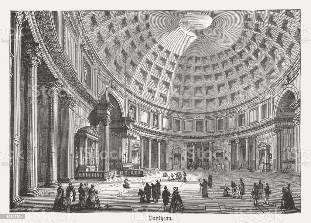 Pantheon in Rome, interior view, published in 1878 vector art illustration
