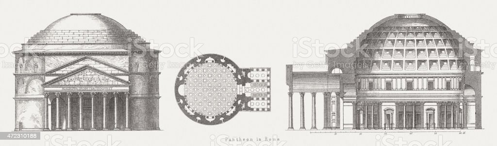Pantheon in Rome, wood engraving, published in 1874 vector art illustration