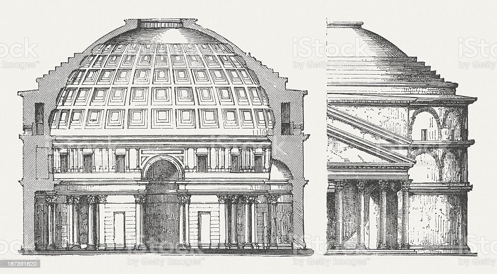 Pantheon, Rome, built by Hadrian about 126 AD, published 1876 royalty-free stock vector art