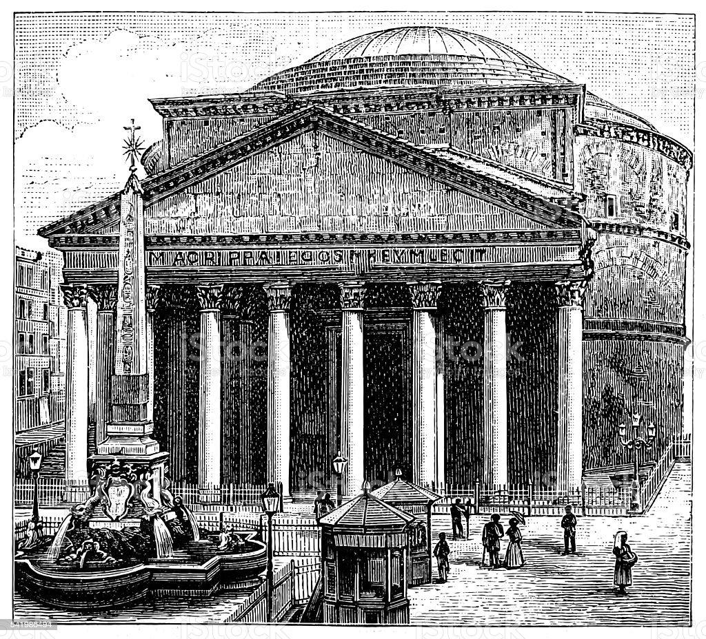 Pantheon, Rome vector art illustration