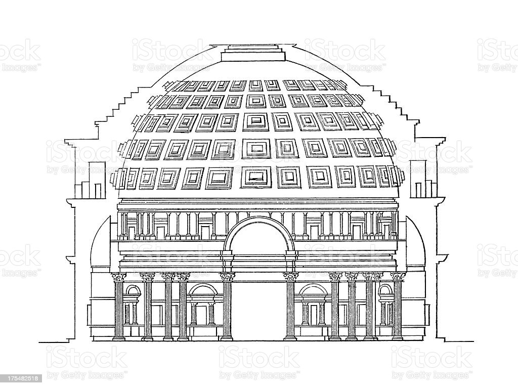Pantheon, Rome, Italy | Antique Architectural Illustrations royalty-free stock vector art