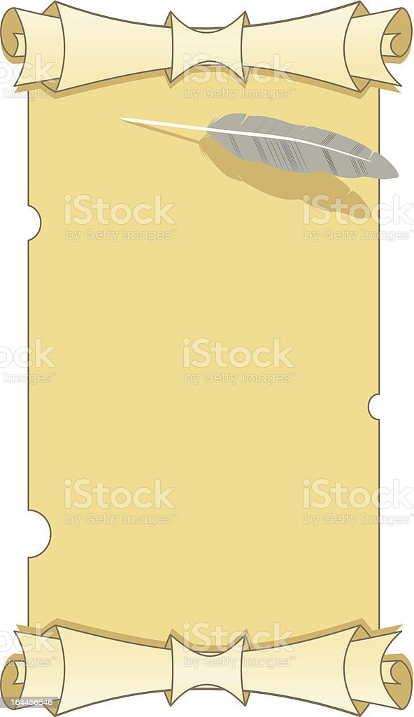 Paper and feather. royalty-free stock vector art
