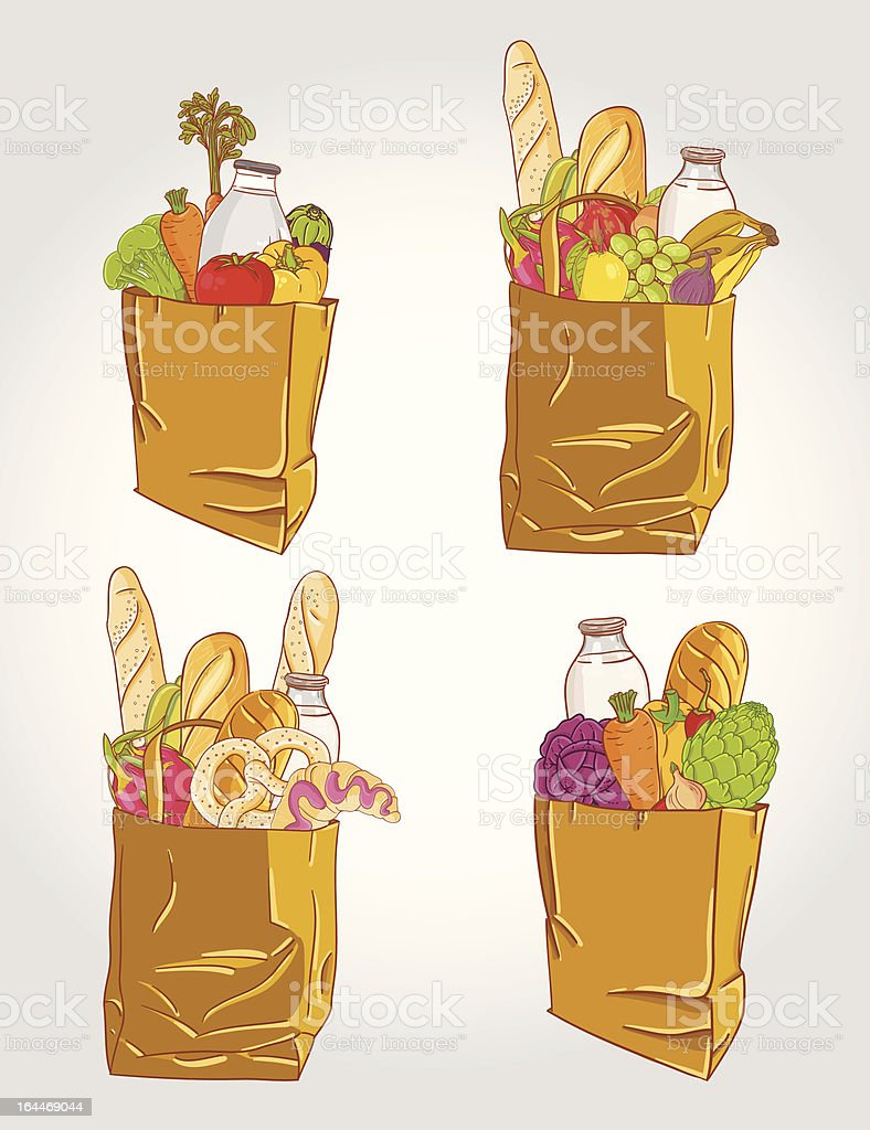 Paper bag with  food bread and fruits, vegetable vector illustration royalty-free stock vector art