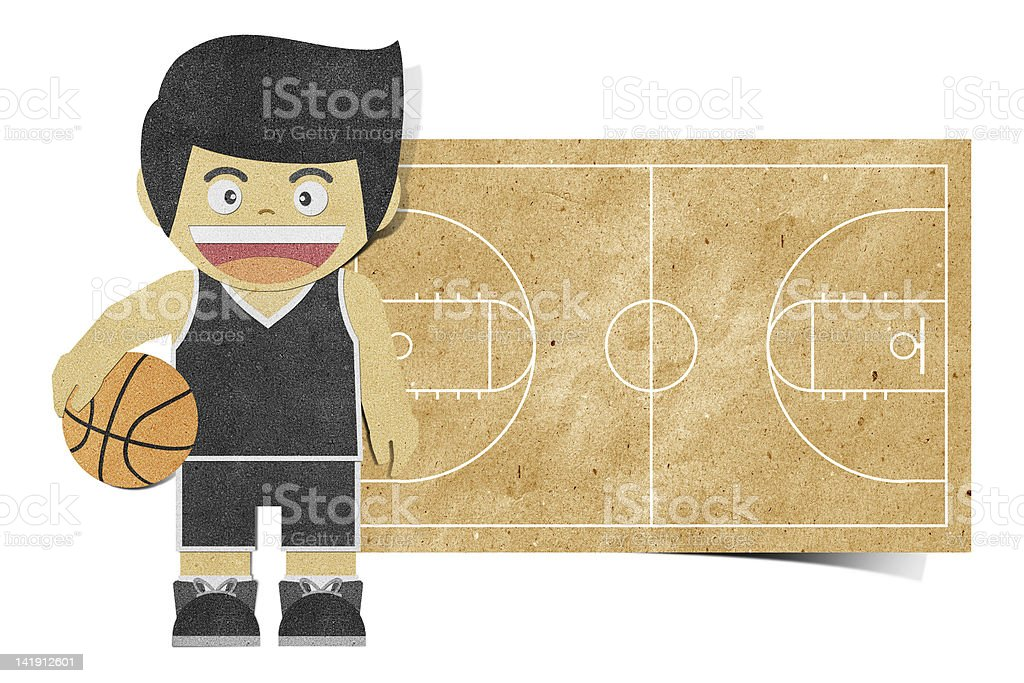 Paper boy  ( basketball player ) recycled papercraft royalty-free stock vector art