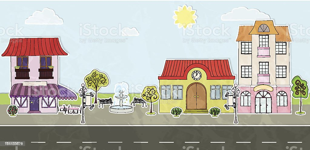 Paper city street royalty-free stock vector art