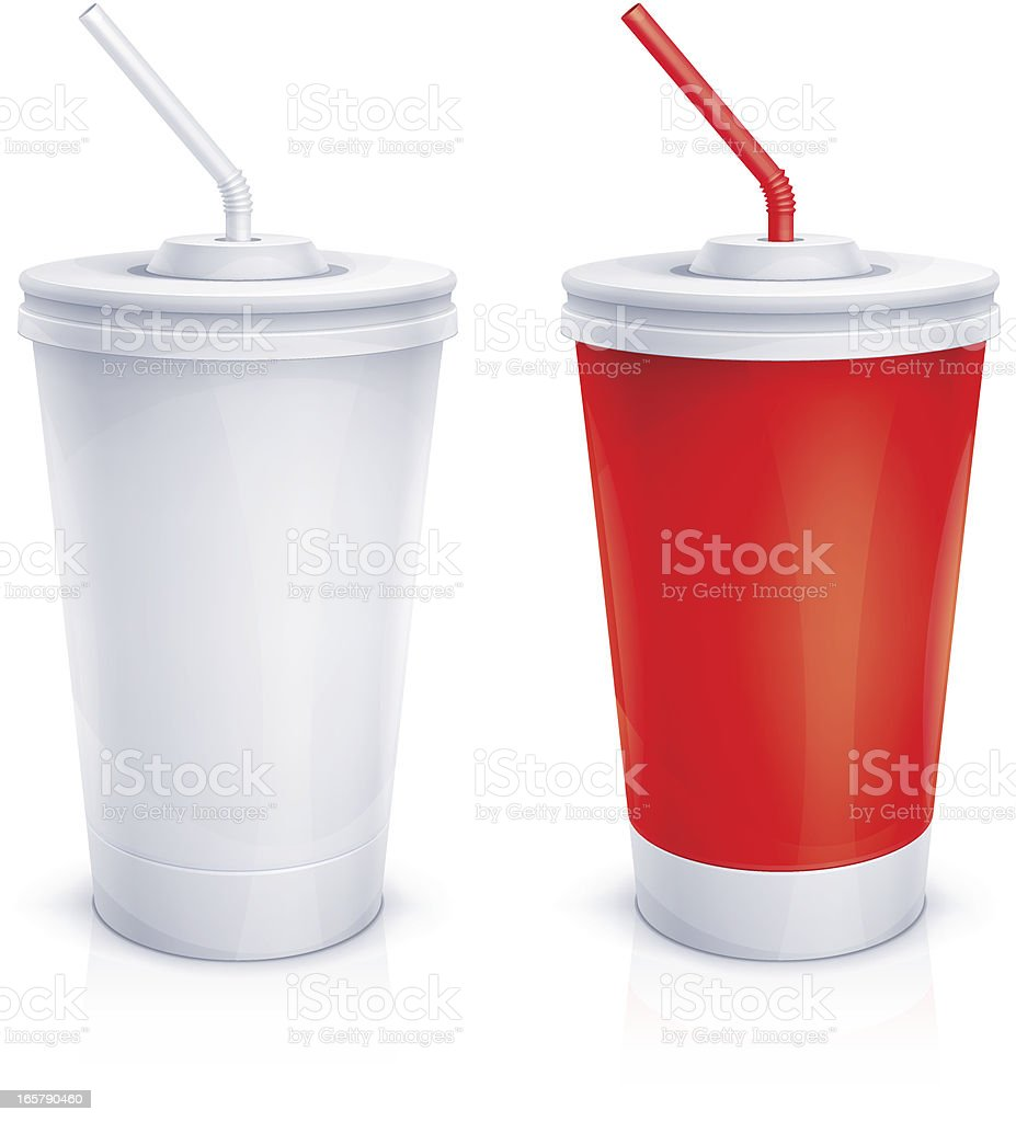 Paper cups with tubes vector art illustration