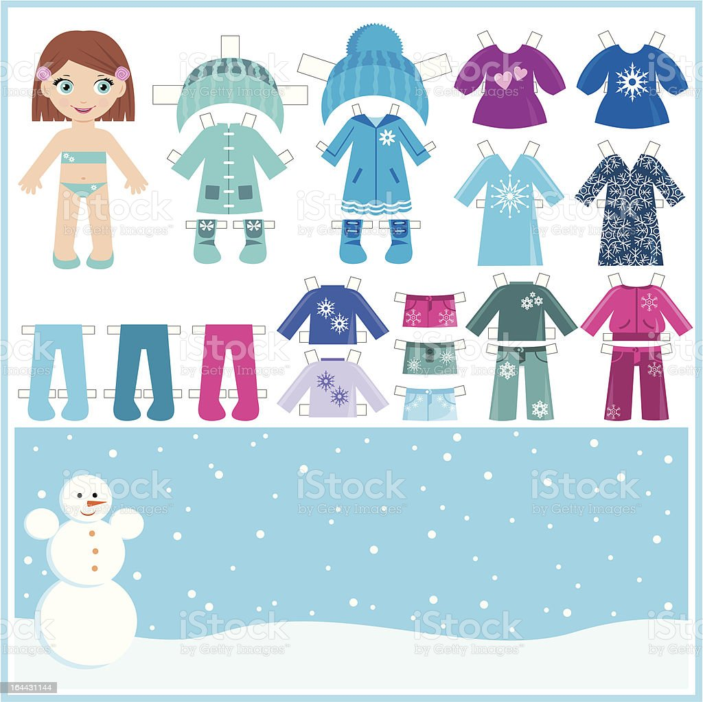 Paper doll with a set of winter clothes royalty-free stock vector art