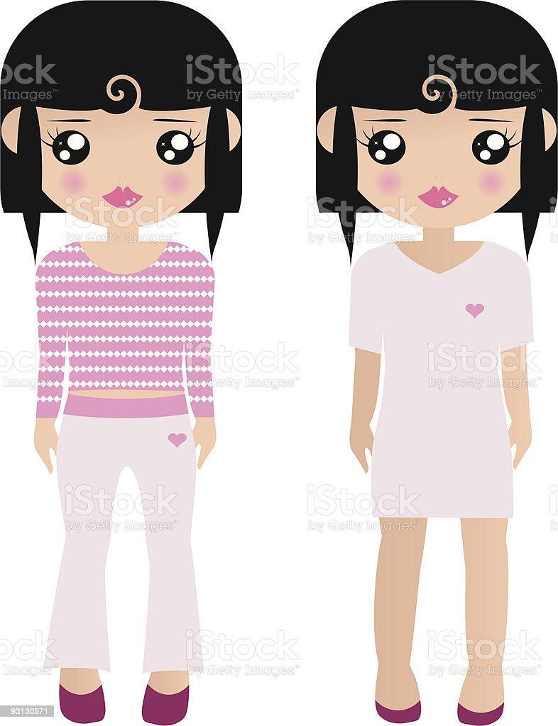 Papel muñecas rosa illustracion libre de derechos libre de derechos