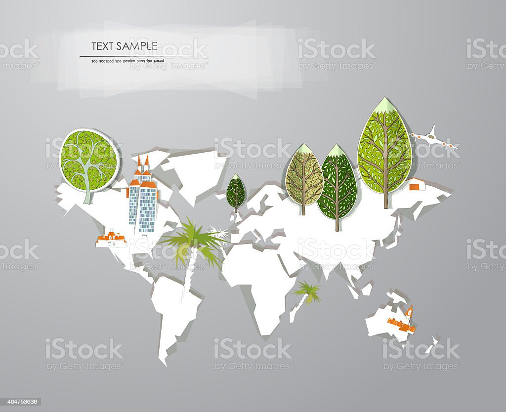 Paper map and green trees set with space for text vector art illustration