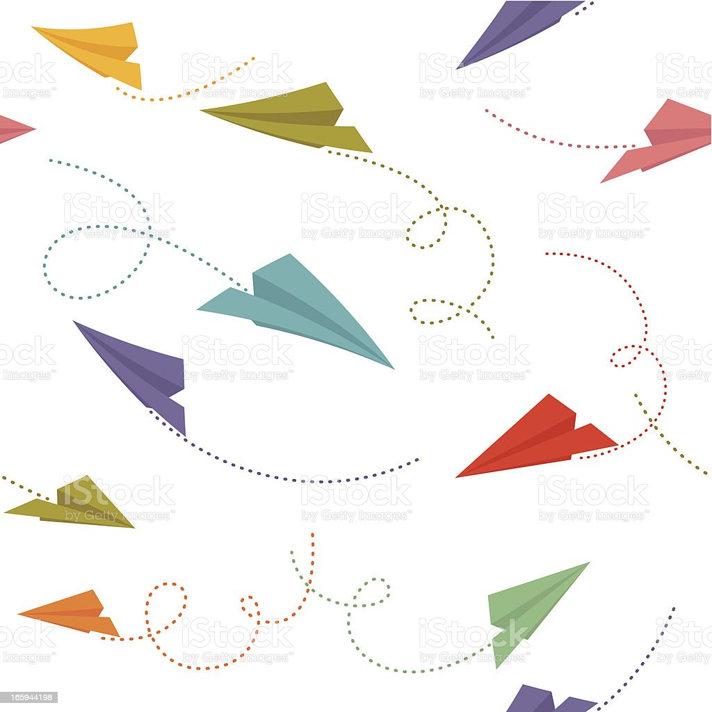 Paper planes seamless pattern royalty-free stock vector art