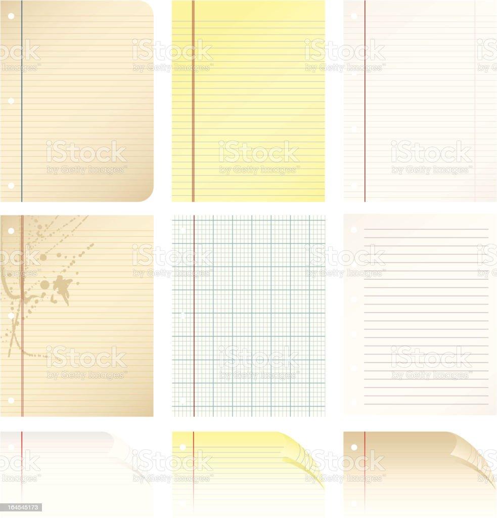 Paper Types vector art illustration