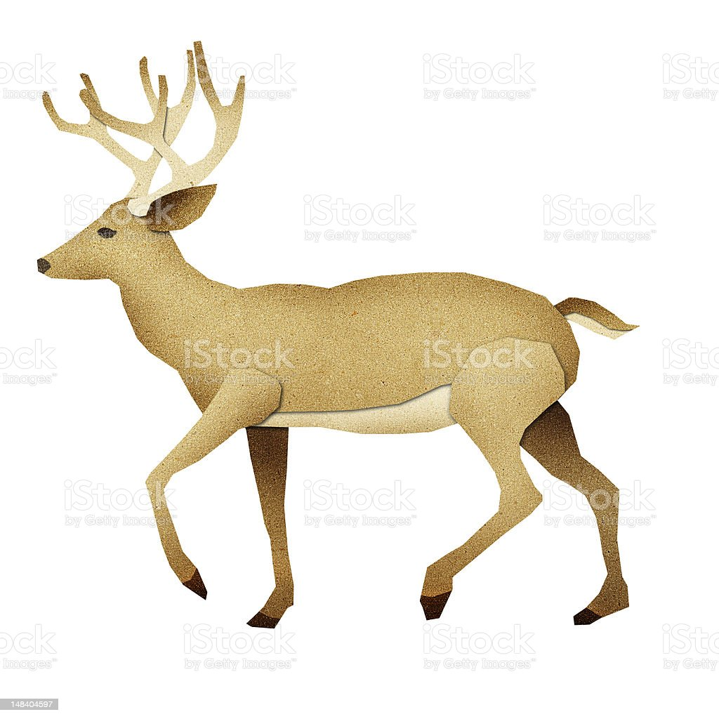 Papercut Deer Recycled Paper royalty-free stock vector art