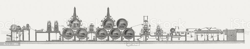 Papermaking with the Fourdrinier machine, wood engraving, published in 1877 vector art illustration