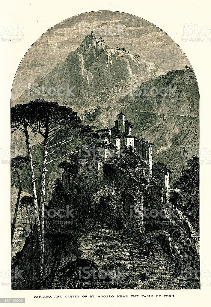 Papigno and Castle of St. Angelo, Terni, Italy vector art illustration