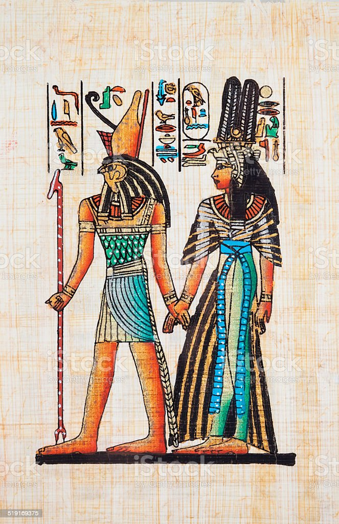 Papyrus Depicting Horus and Queen Nefertiti vector art illustration