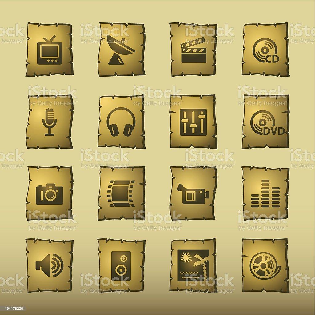 papyrus media icons vector art illustration