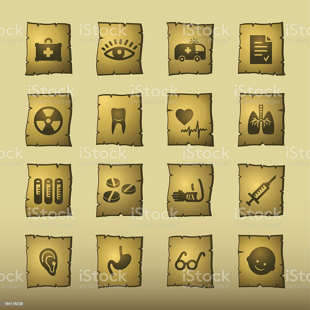 papyrus medicine icons royalty-free stock vector art