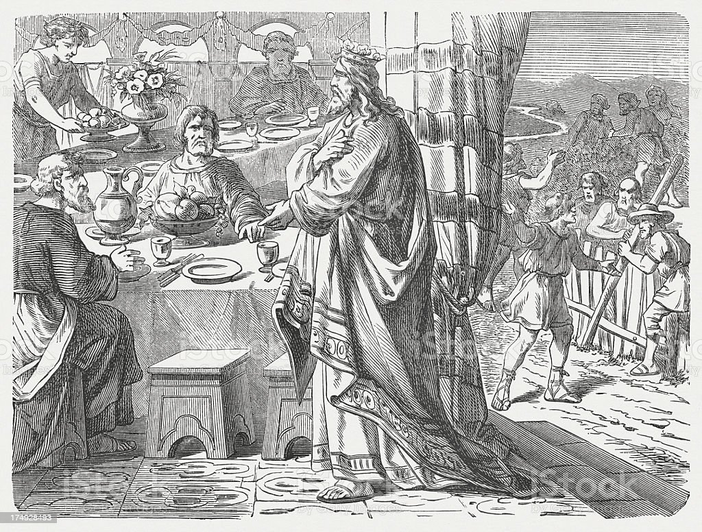 Parable of the Great Banquet (Luke 14, 15-24), published 1877 royalty-free stock vector art