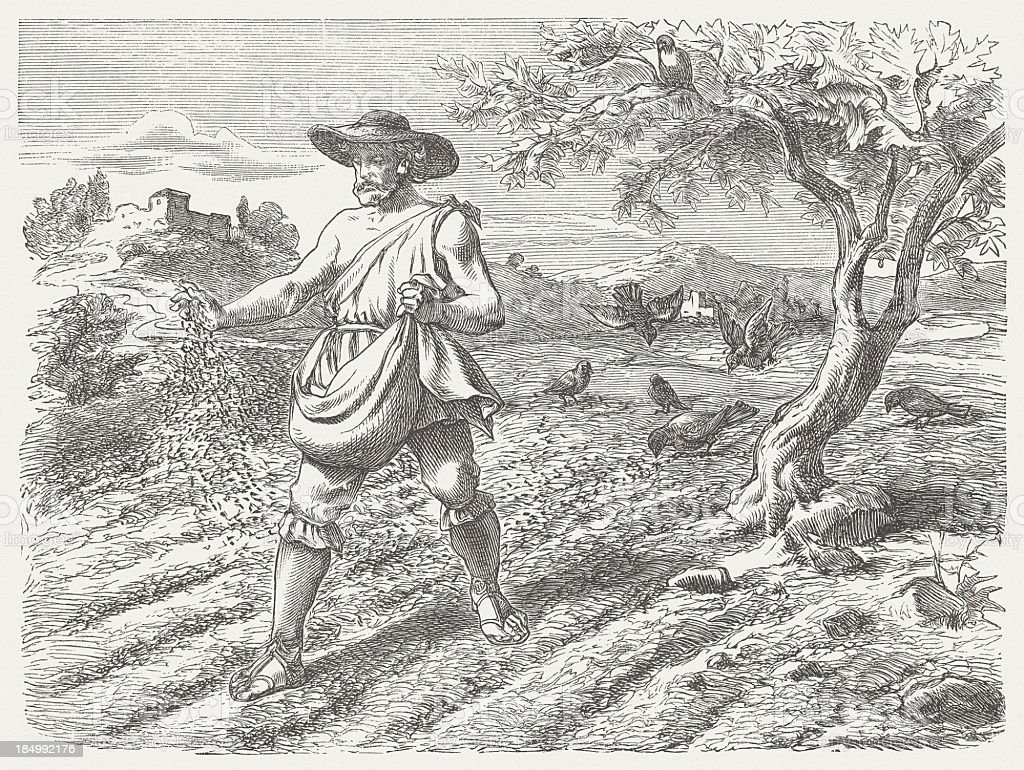 Parable of the Sower (Matthew 13, 3-9), published in 1877 vector art illustration