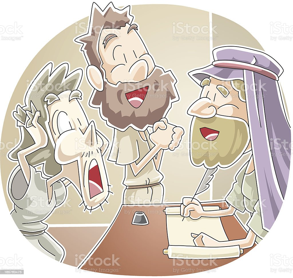 Parable of the two debtors vector art illustration