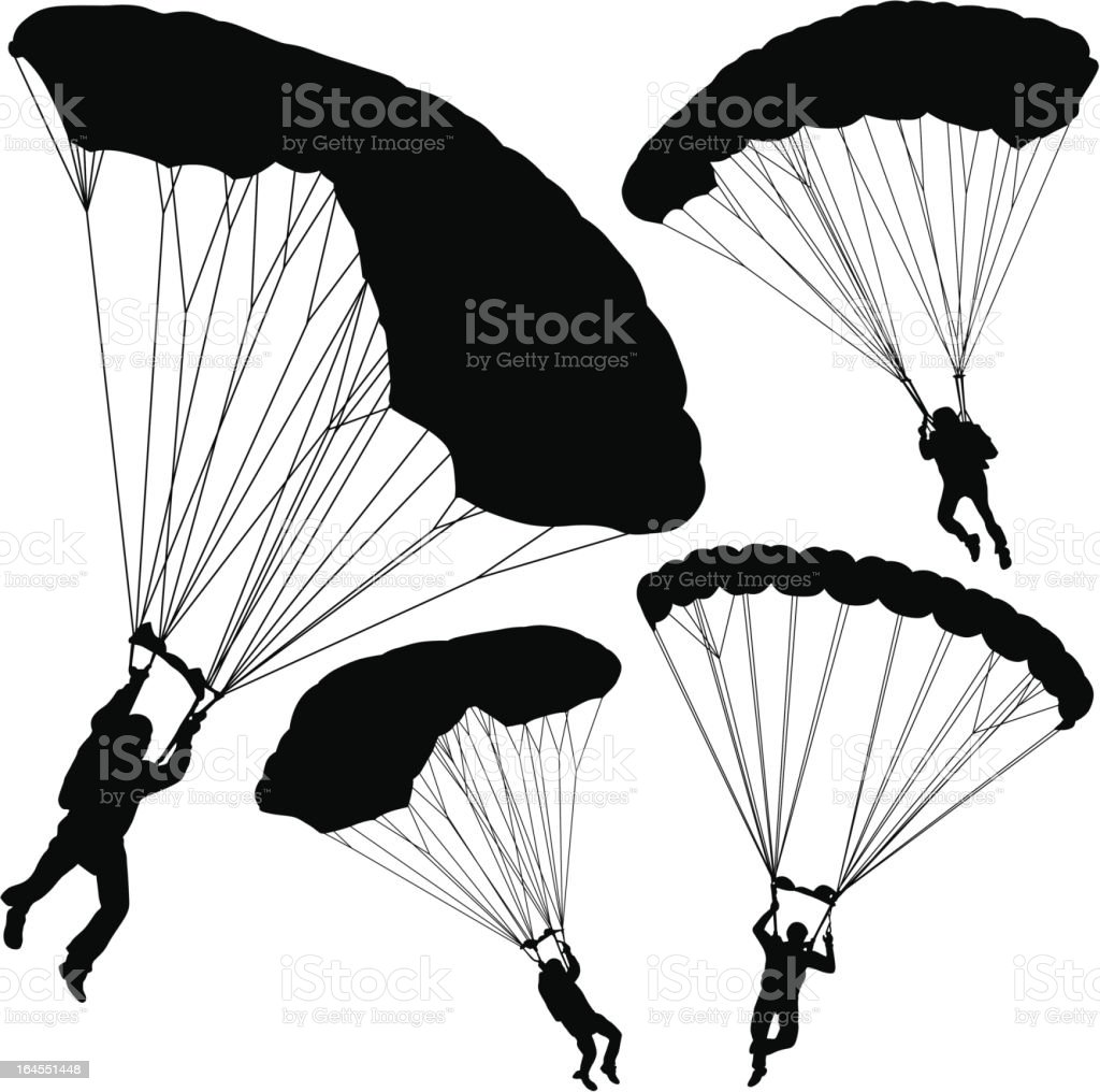 Parachuting vector art illustration