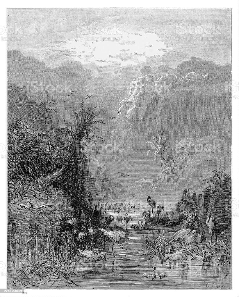 Paradise engraving 1885 vector art illustration