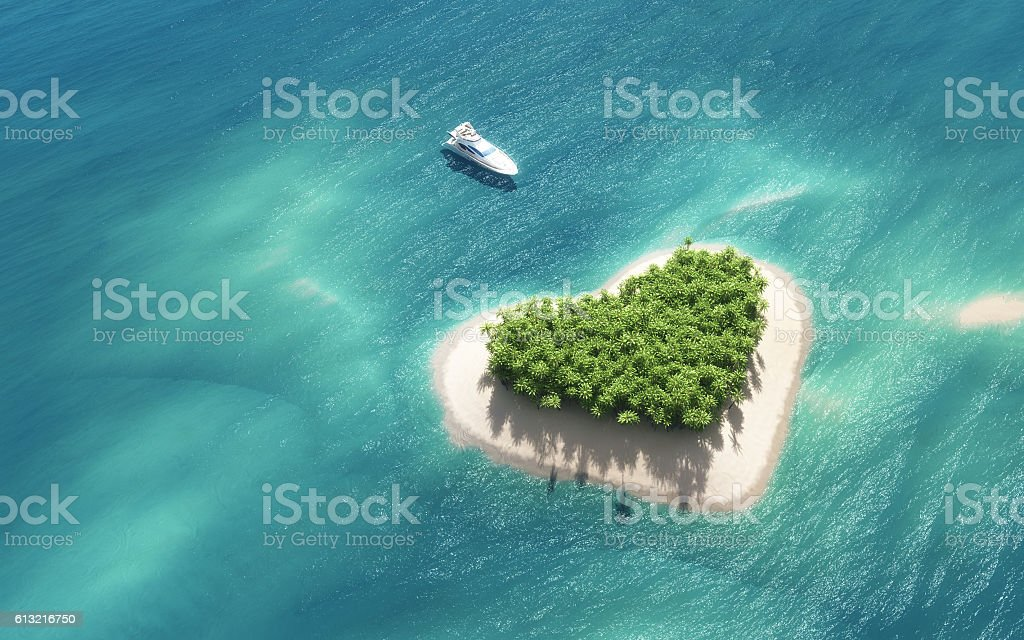 Paradise island vector art illustration