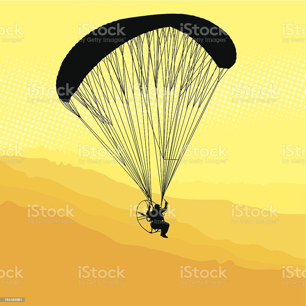 Paraglider and paramotor vector art illustration