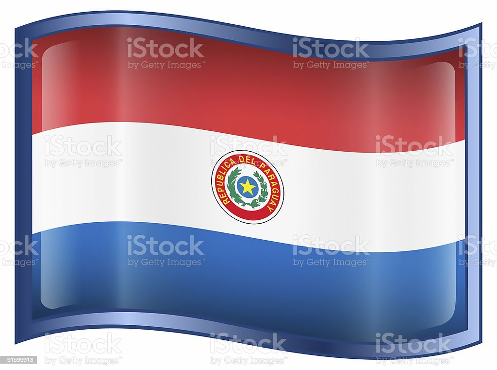 Paraguay Flag icon, isolated on white background. royalty-free stock vector art