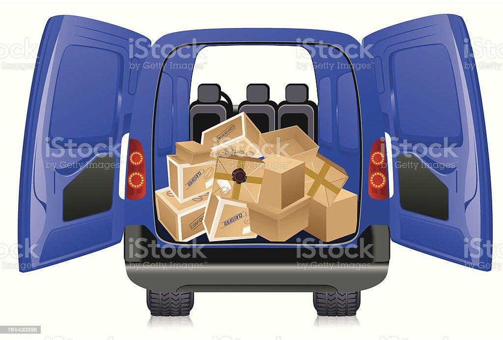 Parcels in minibus vector art illustration