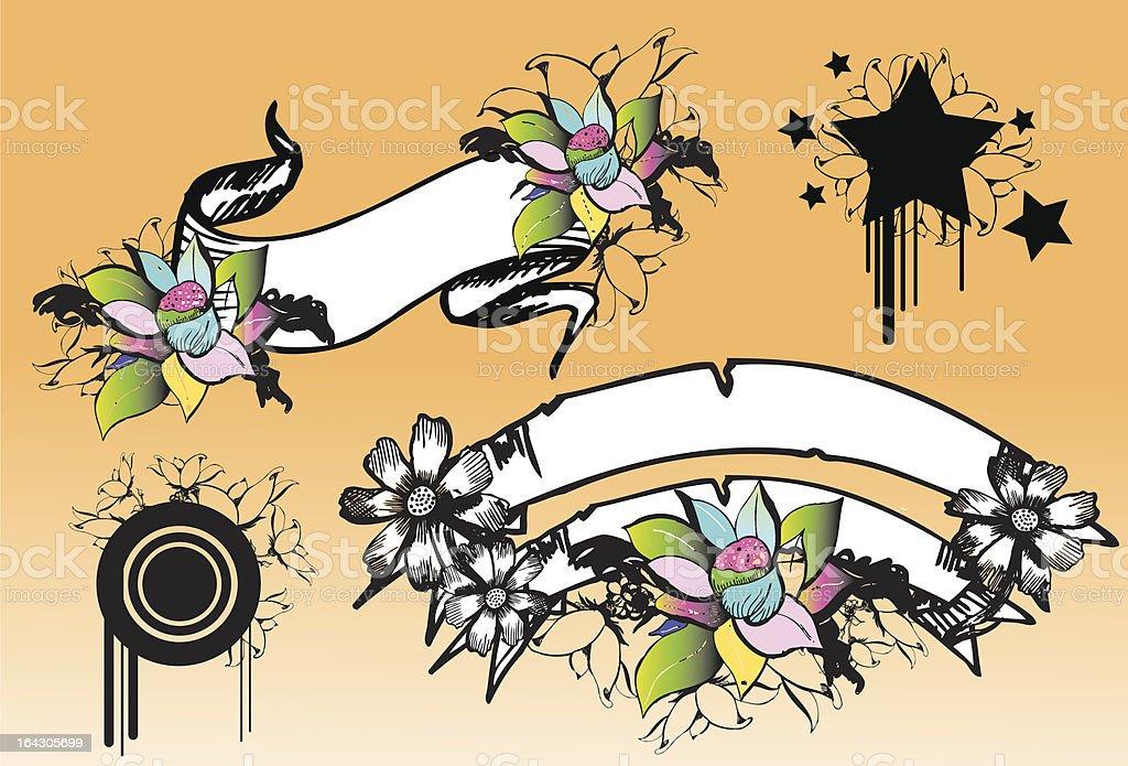 parchment flower vector art illustration