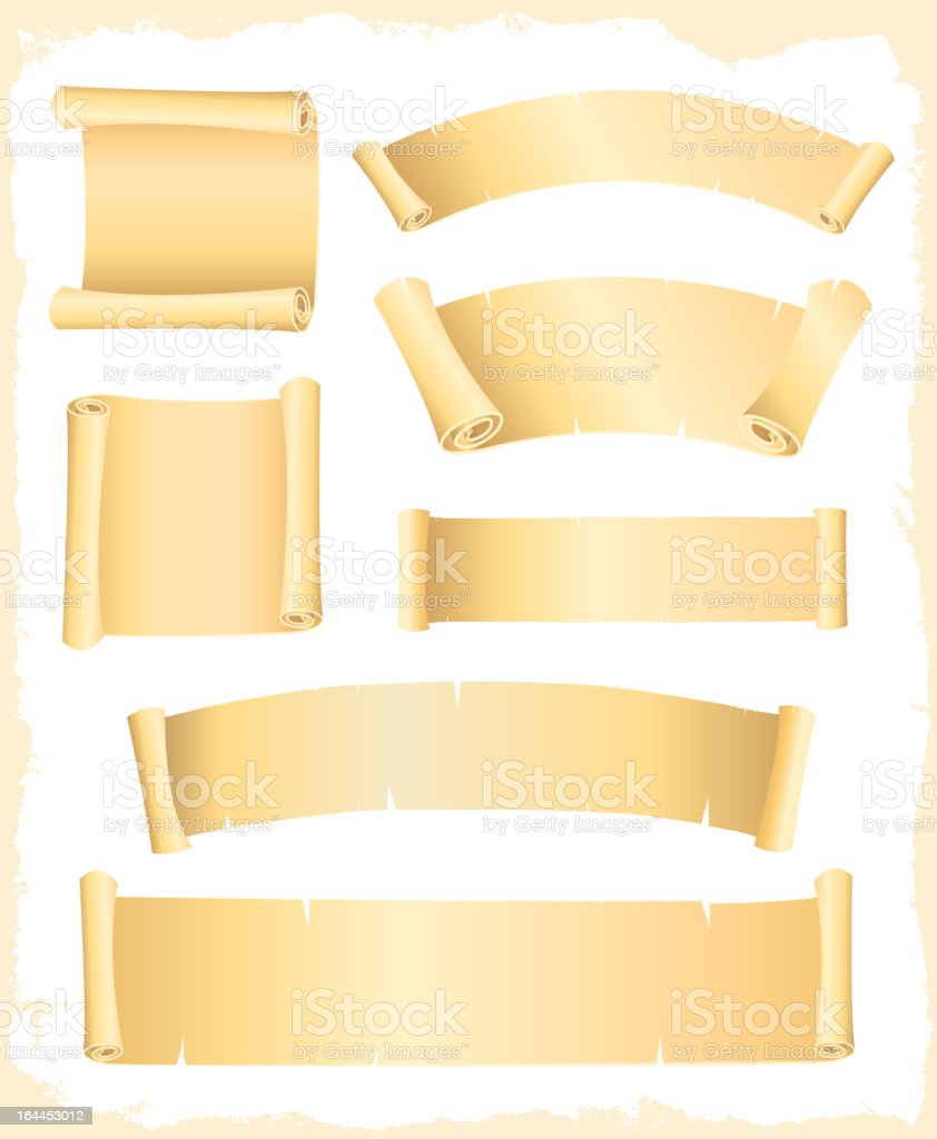 Parchment Scroll And Banners vector art illustration
