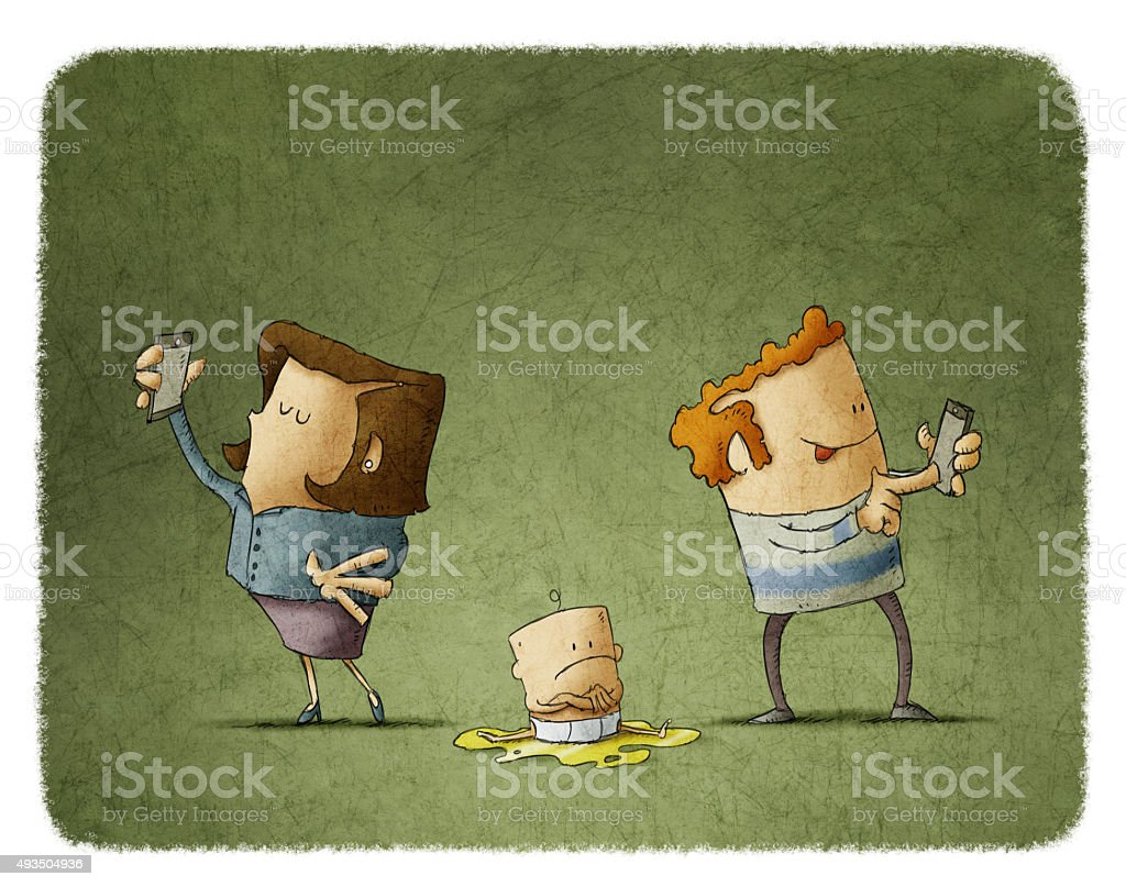 parents addicted to the mobile phone vector art illustration