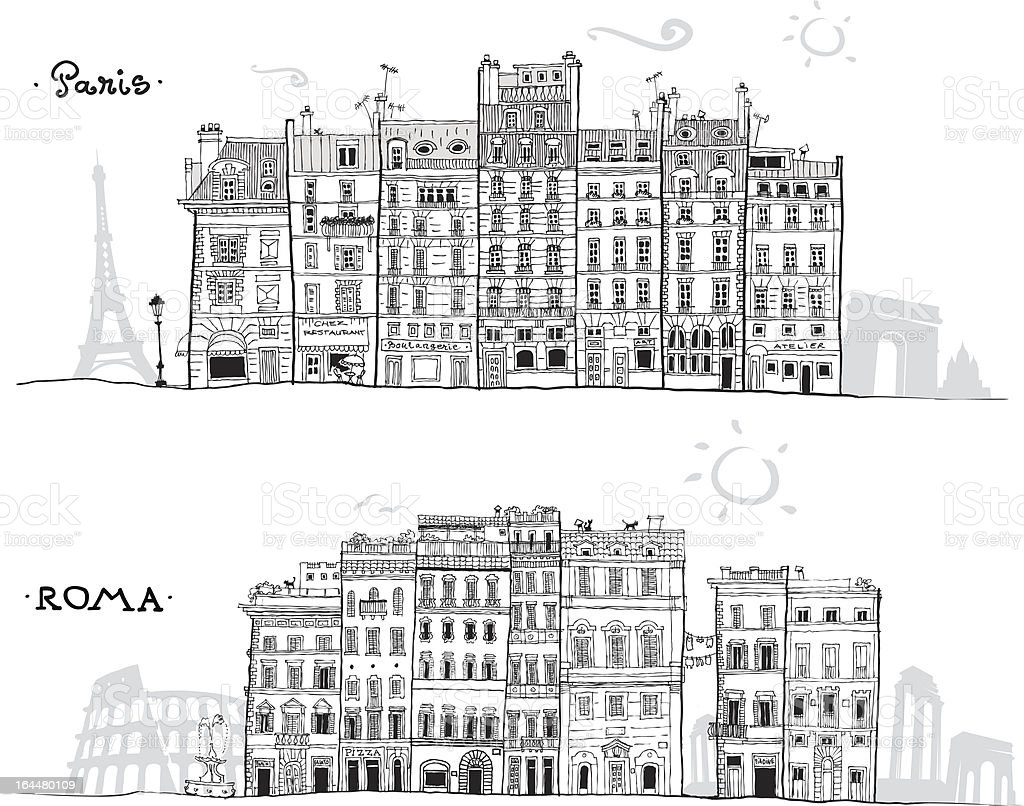 Paris and Rome houses sketch with travel landmarks in background royalty-free stock vector art