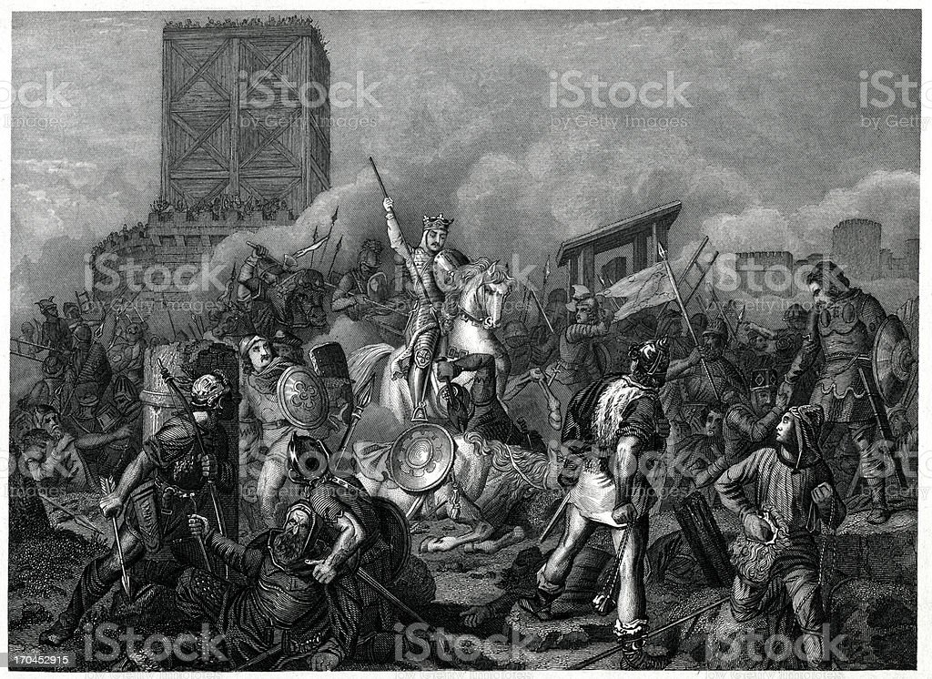 Paris Besieged By The Normans In 885 vector art illustration