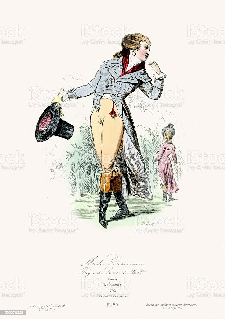 Paris Fashion of the 18th Century vector art illustration