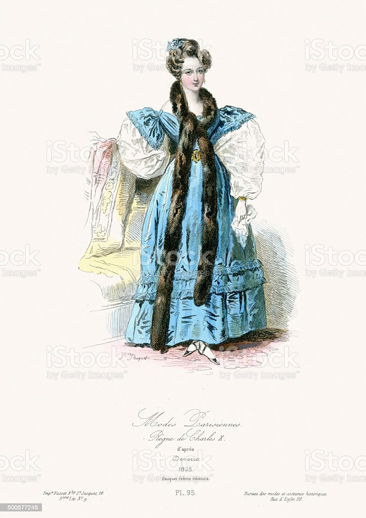 Paris Fashion of the early 19th Century vector art illustration