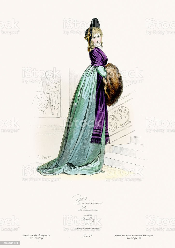 Paris Fashion of the late 18th Century royalty-free stock vector art